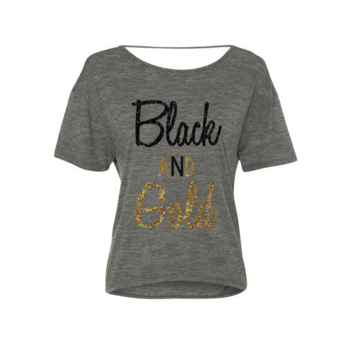 Black and Gold GLITTER Flowy Shirt-Saints Football SUPER CUTE