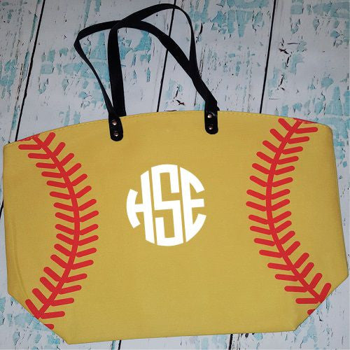 Monogrammed Softball Tote Bag
