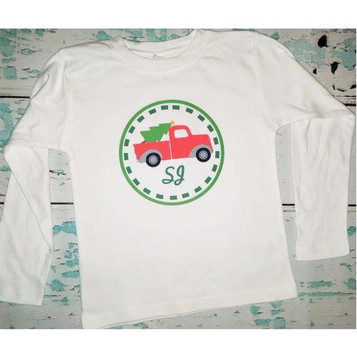 Personalized Boy's Christmas Tree Truck Shirt