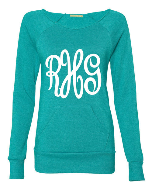 Monogrammed Slouchy Off Shoulder Sweatshirt-Pick your Colors!