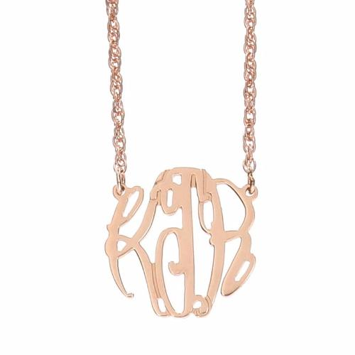Small Elizabeth Monogram Rose Gold Cutout Necklace