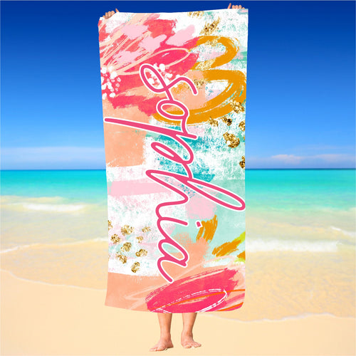 Personalized Abstract Multicolor Beach Towel