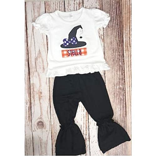 Personalized Appliqued Witch Hat Ruffle Shirt and Pant Set
