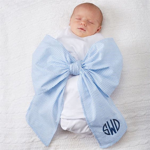 seersucker bow swaddle blanket