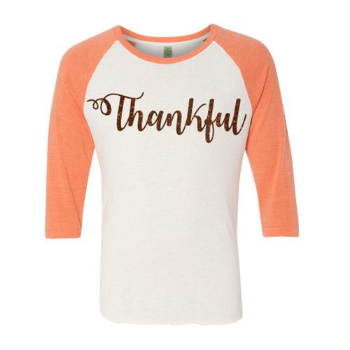 "Ladies Glitter ""Thankful"" Raglan Shirt"