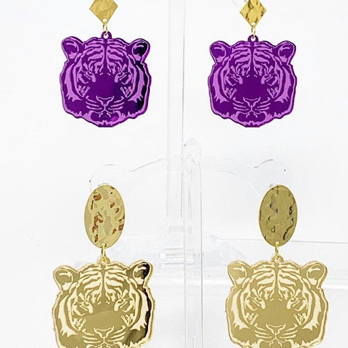 Purple Tiger Earrings