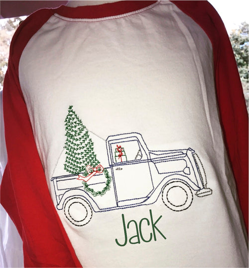 Personalized Boy's Vintage Stitch Christmas Tree Truck Raglan Shirt