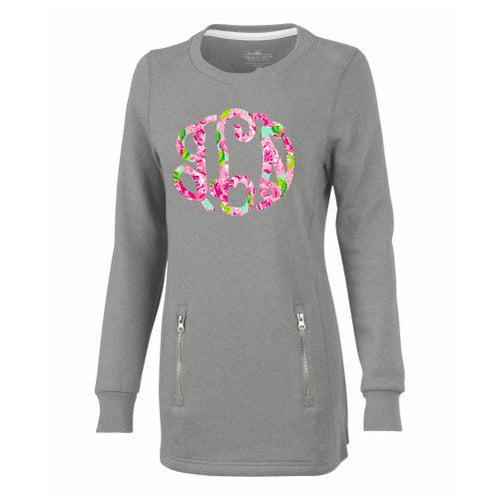 Monogrammed Lilly P Inspired Roses Tunic Sweatshirt