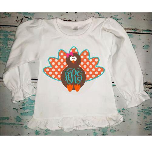 Personalized Monogrammed Girl's Turkey Shirt