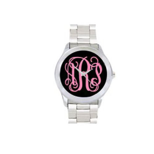 Monogrammed Watch-Black and Pink