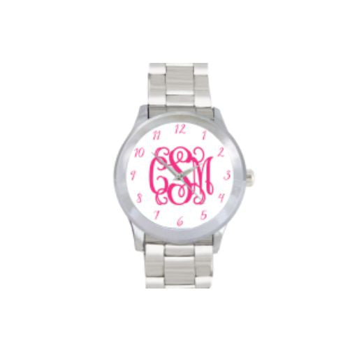 Monogrammed Watch-White and Pink