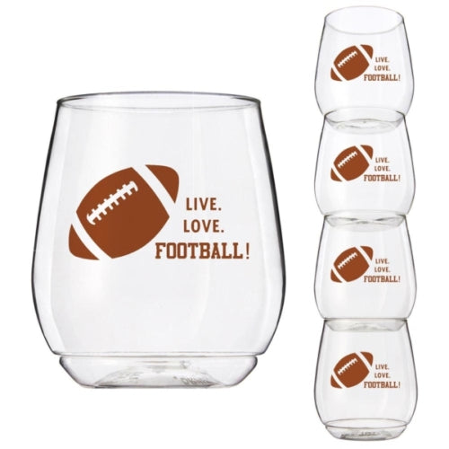 Wine-Oh™ Shatter Proof Stemless Wine Glasses (Set of 4) ~ Football