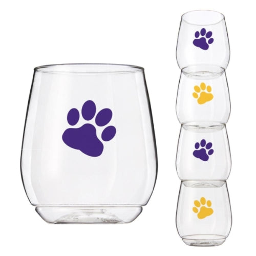 Wine-Oh™ Shatter Proof Stemless Wine Glasses (Set of 4) ~ Purple & Gold Paw Prints