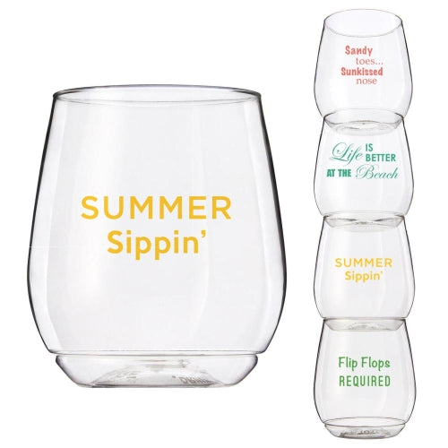 Wine-Oh™ Shatter Proof Stemless Wine Glasses (Set of 4) ~ Summer Sayings