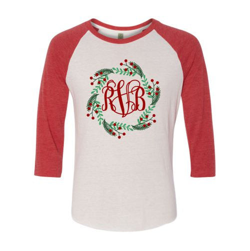 Ladies Monogrammed Wreath Raglan Shirt