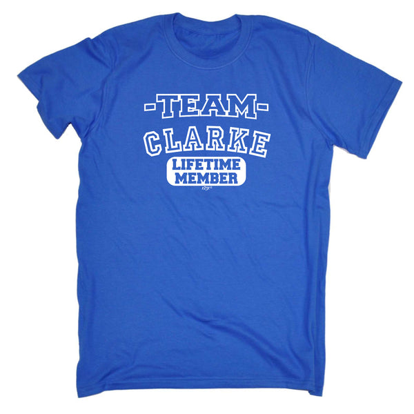 123t Funny Tee - Clarke V2 Team Lifetime Member - Mens T-Shirt