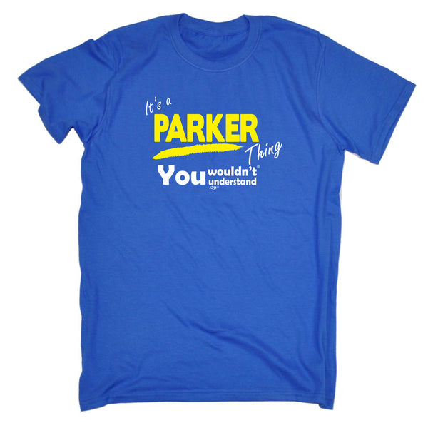 123t Funny Tee - Parker V1 Surname Thing - Mens T-Shirt
