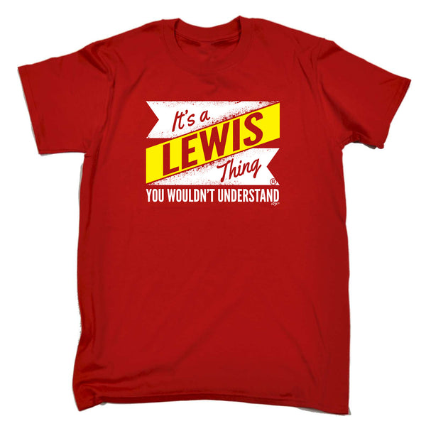 123t Funny Tee - Lewis V2 Surname Thing - Mens T-Shirt