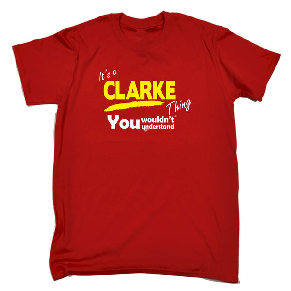 123t Funny Tee - Clarke V1 Surname Thing - Mens T-Shirt
