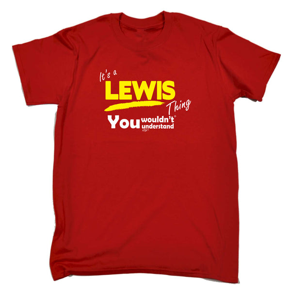 123t Funny Tee - Lewis V1 Surname Thing - Mens T-Shirt
