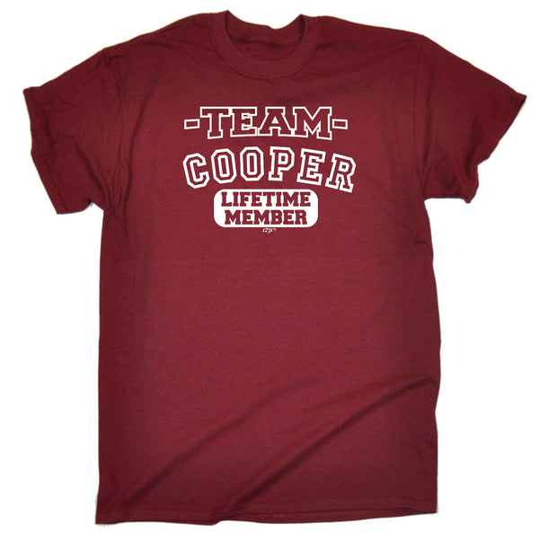 123t Funny Tee - Cooper V2 Team Lifetime Member - Mens T-Shirt