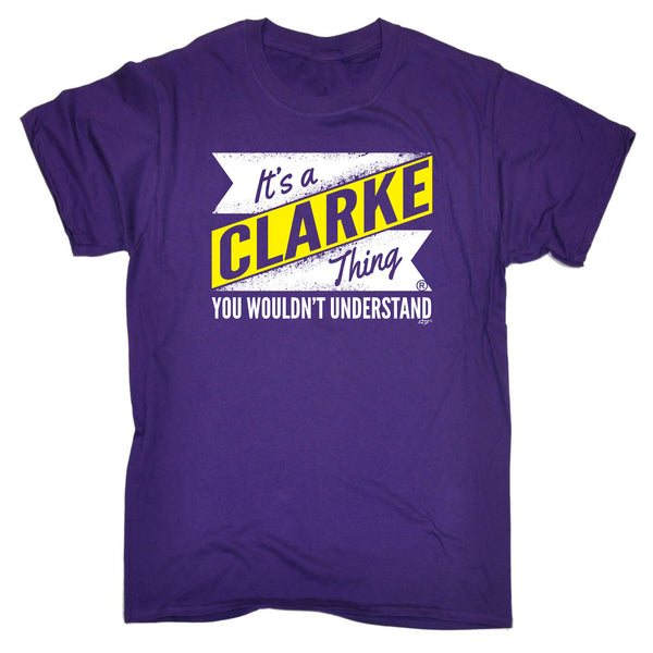 123t Funny Tee - Clarke V2 Surname Thing - Mens T-Shirt