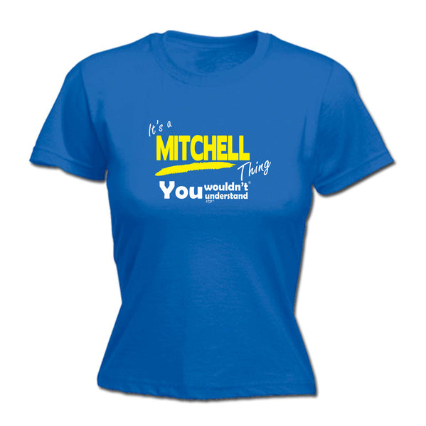 123t Funny Tee - Mitchell V1 Surname Thing -  Womens Fitted Cotton T-Shirt Top T Shirt
