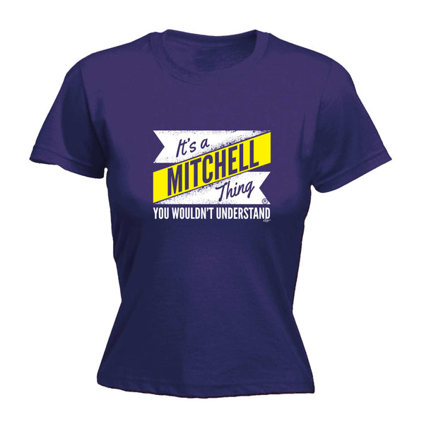 123t Funny Tee - Mitchell V2 Surname Thing -  Womens Fitted Cotton T-Shirt Top T Shirt