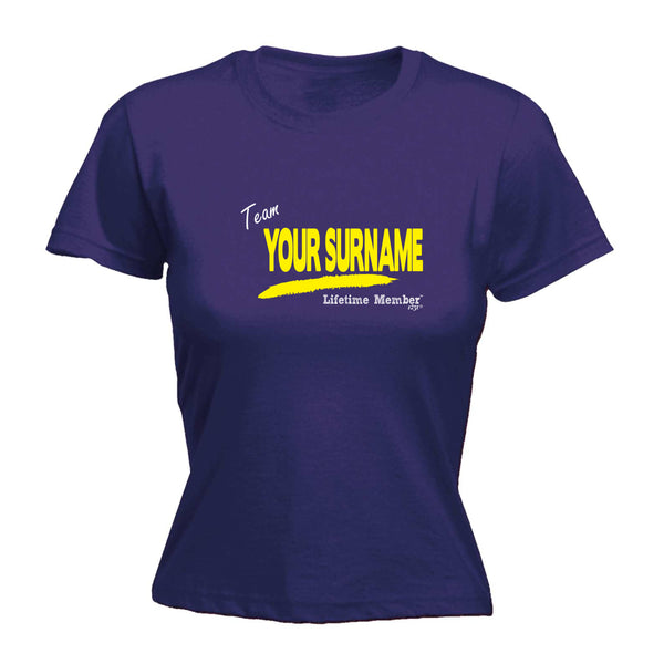 123t Funny Tee - Your Surname V1 Lifetime Member -  Womens Fitted Cotton T-Shirt Top T Shirt
