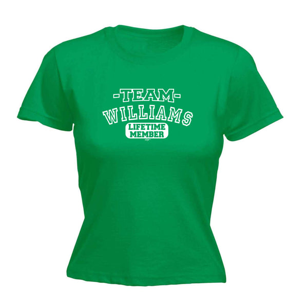 123t Funny Tee - Williams V2 Team Lifetime Member -  Womens Fitted Cotton T-Shirt Top T Shirt
