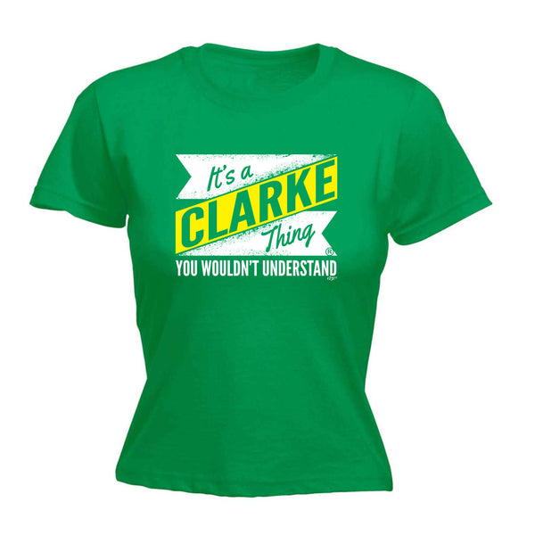 123t Funny Tee - Clarke V2 Surname Thing -  Womens Fitted Cotton T-Shirt Top T Shirt