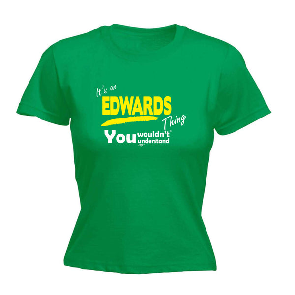 123t Funny Tee - Edwards V1 Surname Thing -  Womens Fitted Cotton T-Shirt Top T Shirt