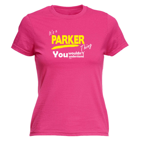 123t Funny Tee - Parker V1 Surname Thing -  Womens Fitted Cotton T-Shirt Top T Shirt