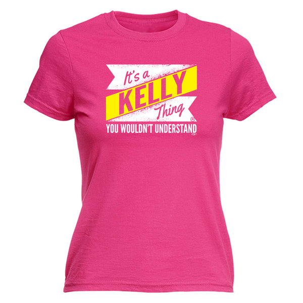 123t Funny Tee - Kelly V2 Surname Thing -  Womens Fitted Cotton T-Shirt Top T Shirt