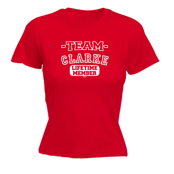 123t Funny Tee - Clarke V2 Team Lifetime Member -  Womens Fitted Cotton T-Shirt Top T Shirt