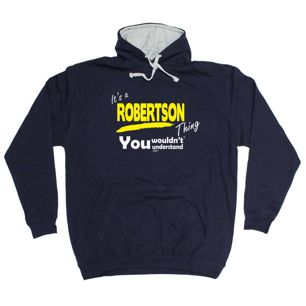 123t Funny Tee - Robertson V1 Surname Thing -  Womens Fitted Cotton T-Shirt Top T Shirt
