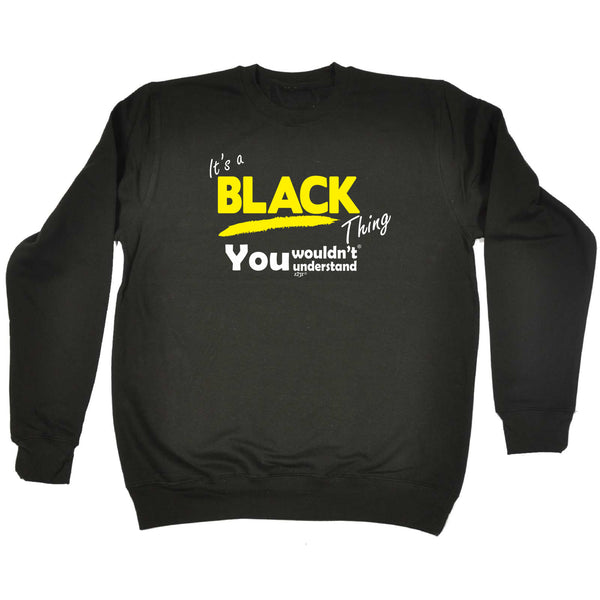 123t Funny Sweatshirt - Black V1 Surname Thing - Sweater Jumper