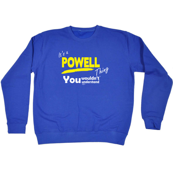 123t Funny Sweatshirt - Powell V1 Surname Thing - Sweater Jumper