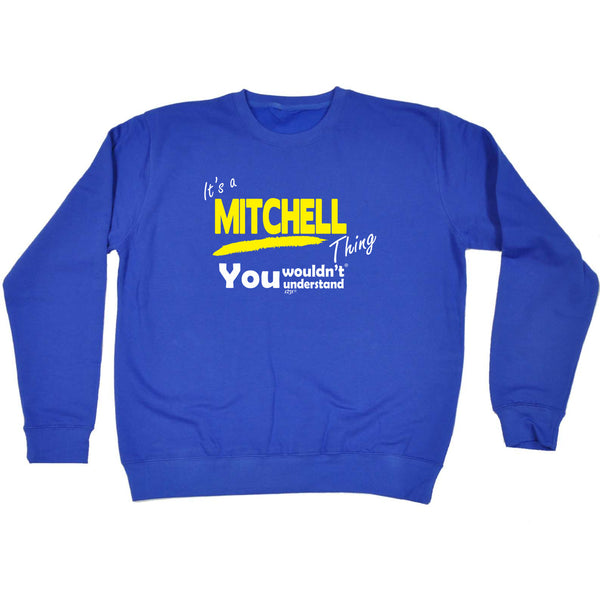 123t Funny Sweatshirt - Mitchell V1 Surname Thing - Sweater Jumper