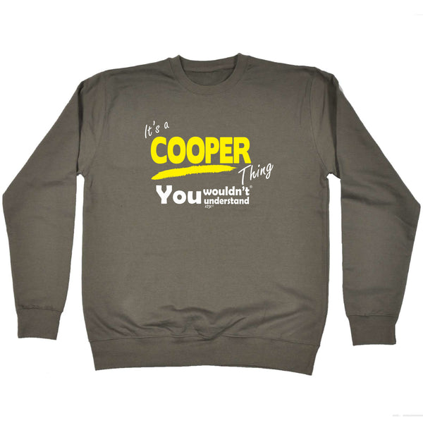 123t Funny Sweatshirt - Cooper V1 Surname Thing - Sweater Jumper