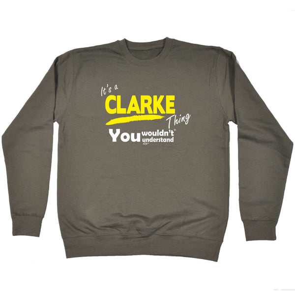 123t Funny Sweatshirt - Clarke V1 Surname Thing - Sweater Jumper