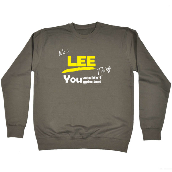 123t Funny Sweatshirt - Lee V1 Surname Thing - Sweater Jumper