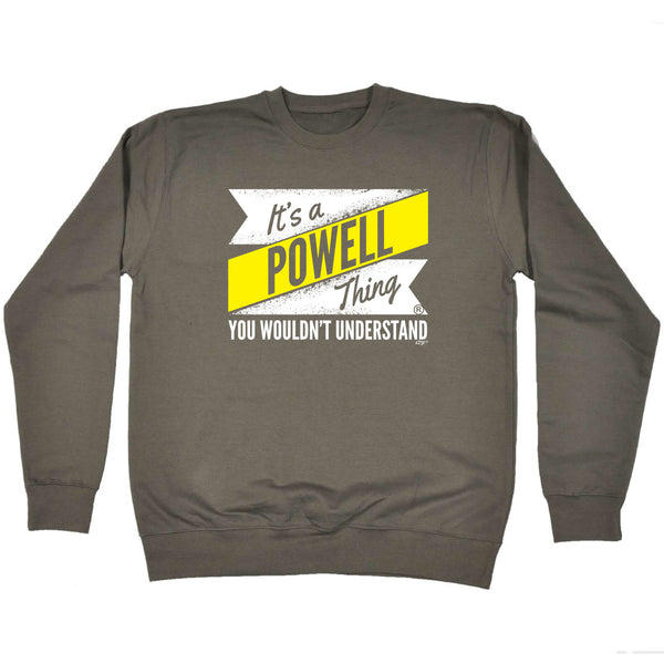 123t Funny Sweatshirt - Powell V2 Surname Thing - Sweater Jumper