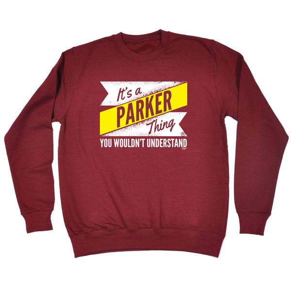 123t Funny Sweatshirt - Parker V2 Surname Thing - Sweater Jumper