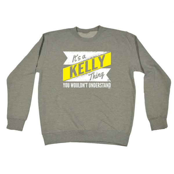 123t Funny Sweatshirt - Kelly V2 Surname Thing - Sweater Jumper