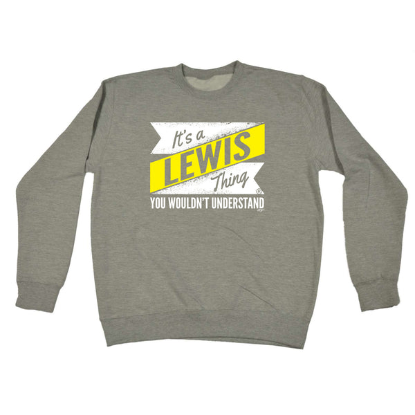 123t Funny Sweatshirt - Lewis V2 Surname Thing - Sweater Jumper
