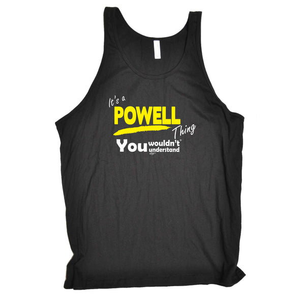 123t Funny Vest - Powell V1 Surname Thing - Bella Singlet Top
