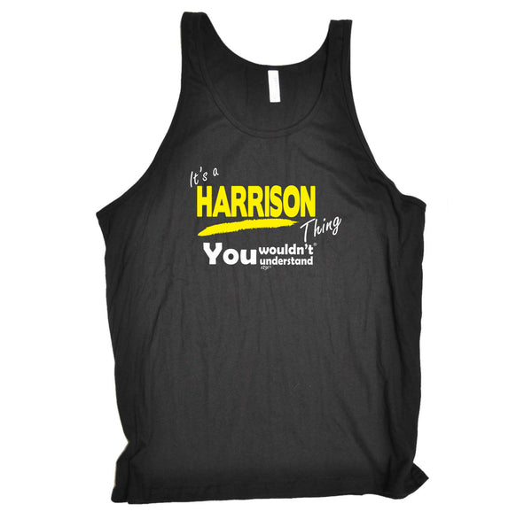 123t Funny Vest - Harrison V1 Surname Thing - Bella Singlet Top