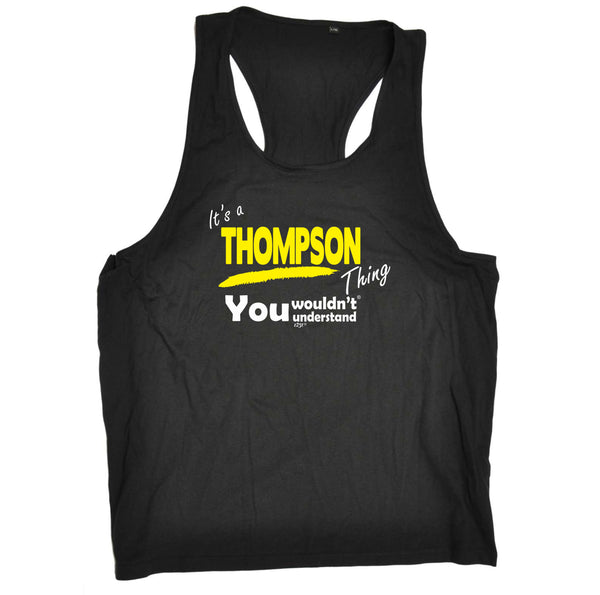 123t Funny Vest - Thompson V1 Surname Thing - Bella Singlet Top