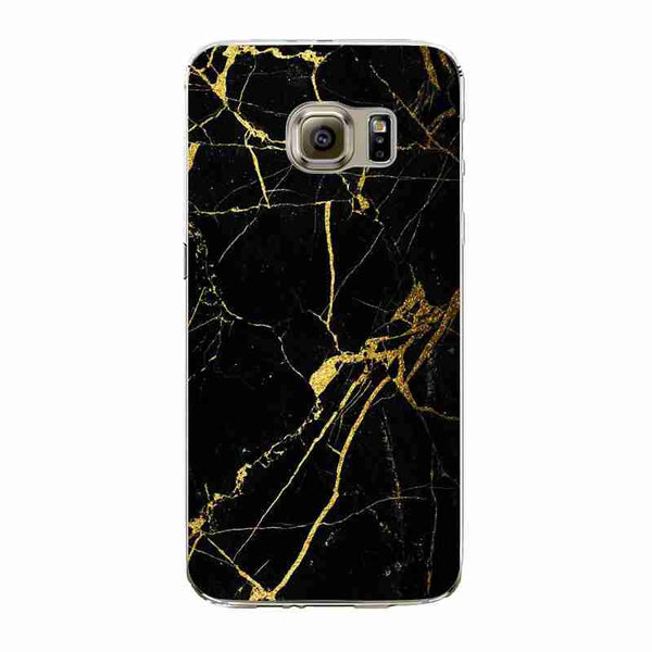 BLACK AND GOLD MARBLE - Soft Phone Case